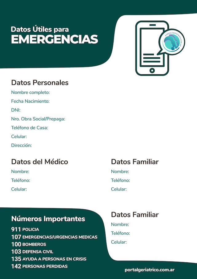Emergencias Numeros Utiles Formulario para adultos mayores PORTALGERIATRICO